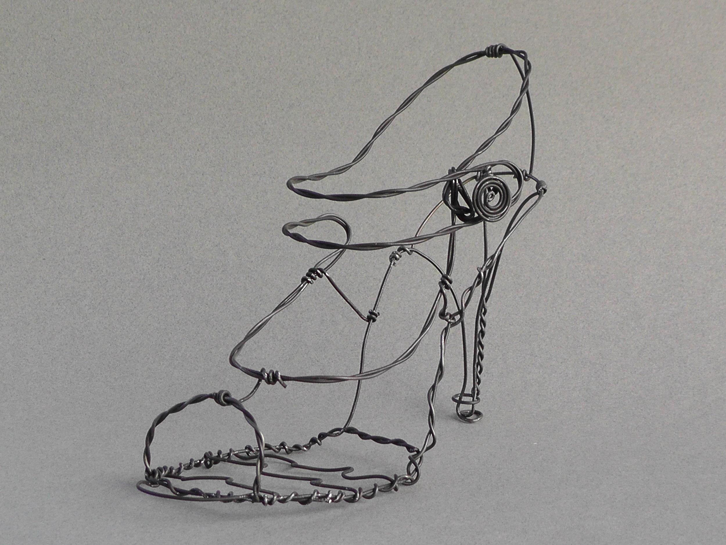 """wire shoe sculpture, """"open form"""""""