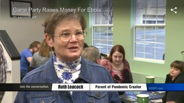 My mom, featured on the local news in Omaha at the Pandemic Party she helped organize at Spielbound