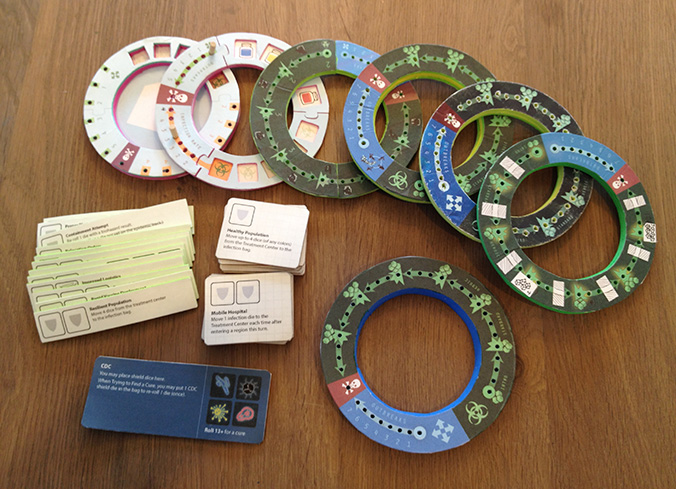 The evolution of the treatment center and event cards in Pandemic: The Cure