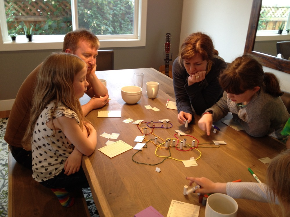 Playtesting with the Rory O'Connor, Anita Murphy, and their family. Theses people are brilliant; if you haven't seen their  Story Cubes  or  Extraordinaires Design Studio  products, be sure to check them out.