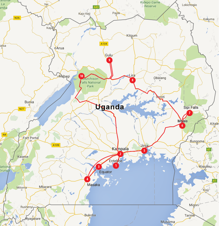 """Our route. Click the map for a larger view. 1. Landed in Entebbe 2. Traffic and shopping in Kampala 3. Quick stop to buy drums and do """"experiments"""" at the equator 4. Visited schools and a family in Masaka 5. Boat ride to the source of the Nile at Jinja 6. New brakes for the van in Mbale 7. Hiked up Sipi Falls 8. Visited schools in Lira 9. Visited schools and a family in Gulu 10. Boat ride on the Nile, photo safari,and Murchison Falls hike 11, 12. Back to Kampala and Entebbe"""