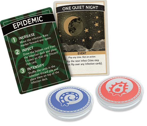 The game offers new artwork including silk-screened petri dishes for containing the disease cubes.