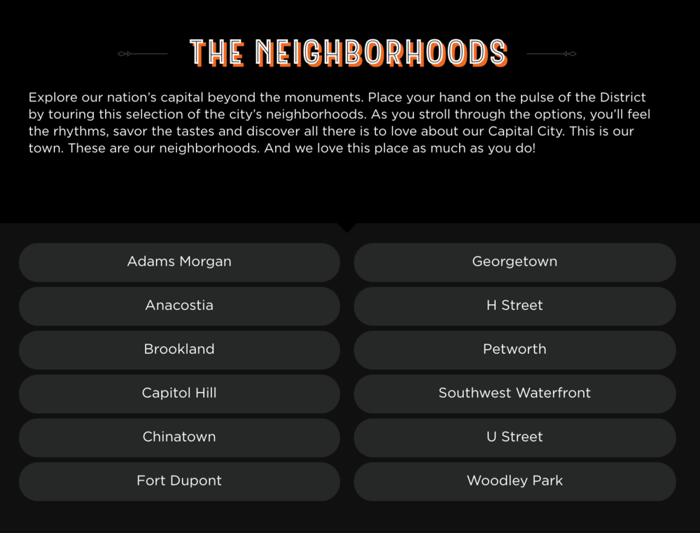 DC Lottery Neighborhoods