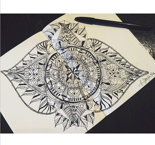 Moleskine Mandala Scribbles While Making Boba