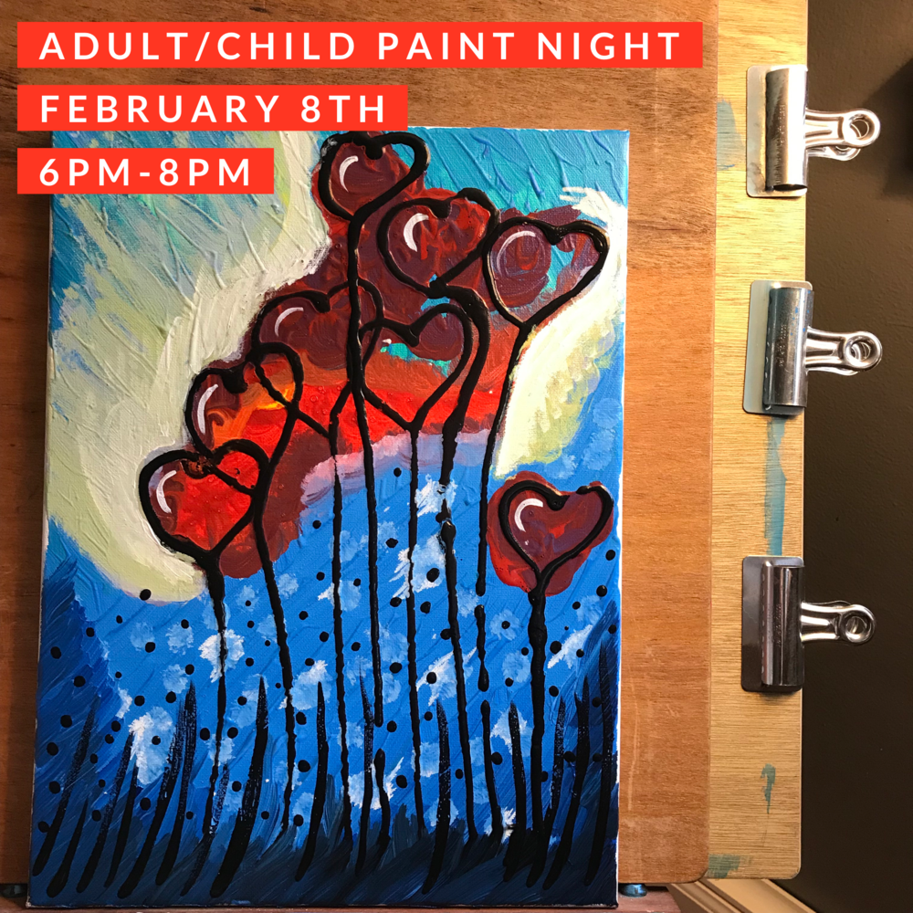 Adult Child Paint Night 020818 6pm 8pm Birthday Parties West Seattle Art Nest