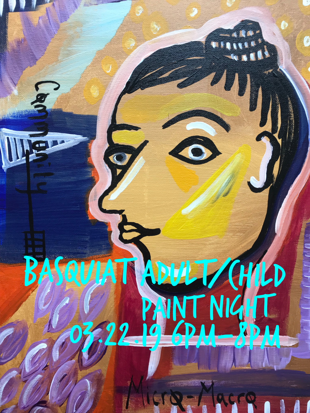 Adult Child Paint Night Basquiat 032219 6pm 8pm Birthday Parties West Seattle Art Nest