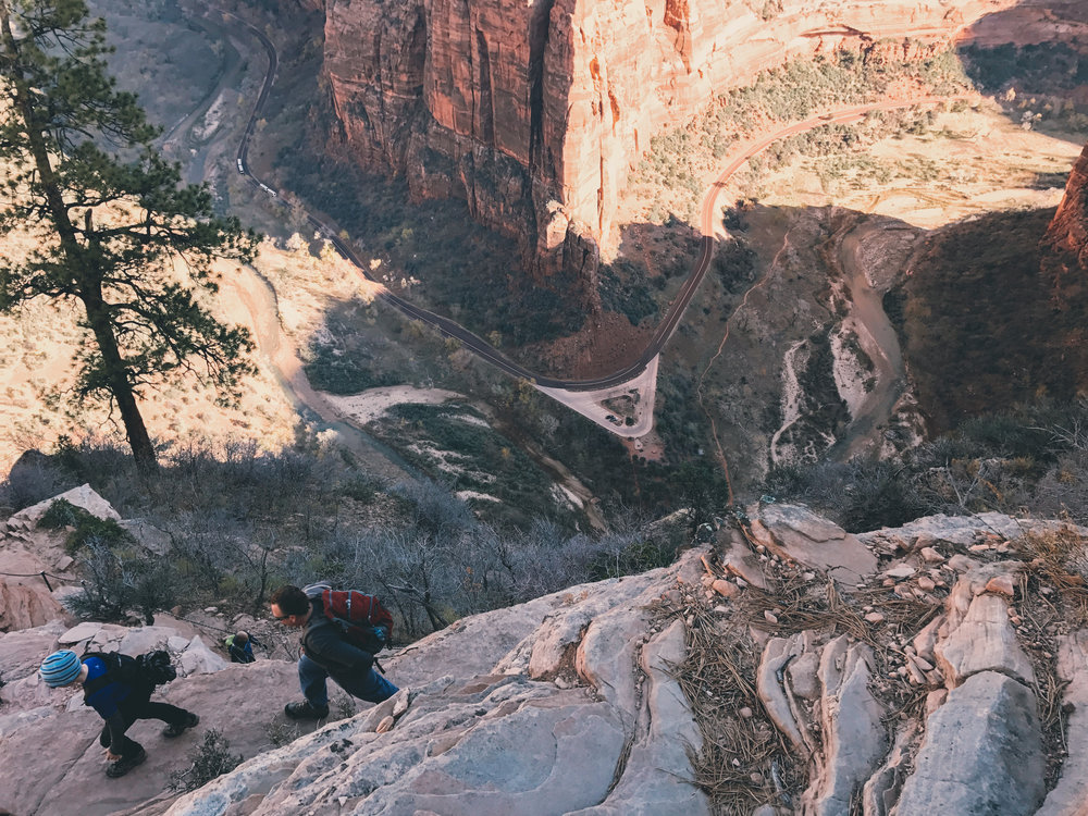 Look how close we were to the edge of the canyon! The size of the Zion Canyon shuttle bus will give you a sense of how high up we were.