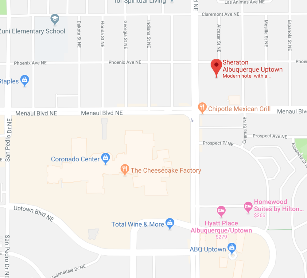 One of the shuttle pickup points is at the  Coronado Center  , a kitty corner from the  Sheraton Albuquerque Uptown . Hotel prices for these two weekends will be very high so it is a good opportunity to redeem your points.
