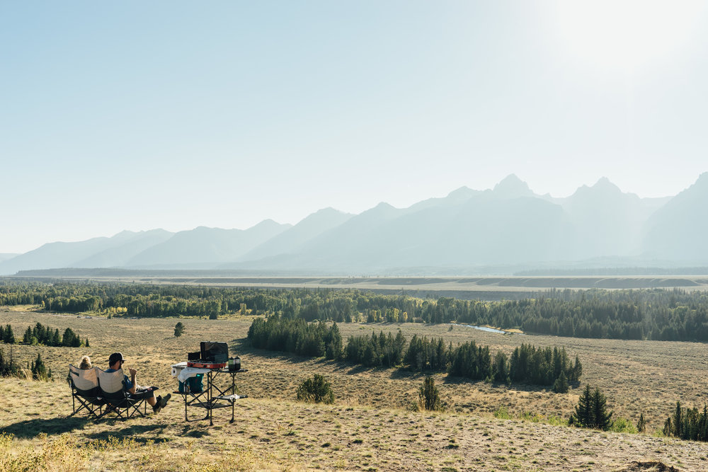 A 5-star picnic spot with a view of the Teton Range from the east side of the park.
