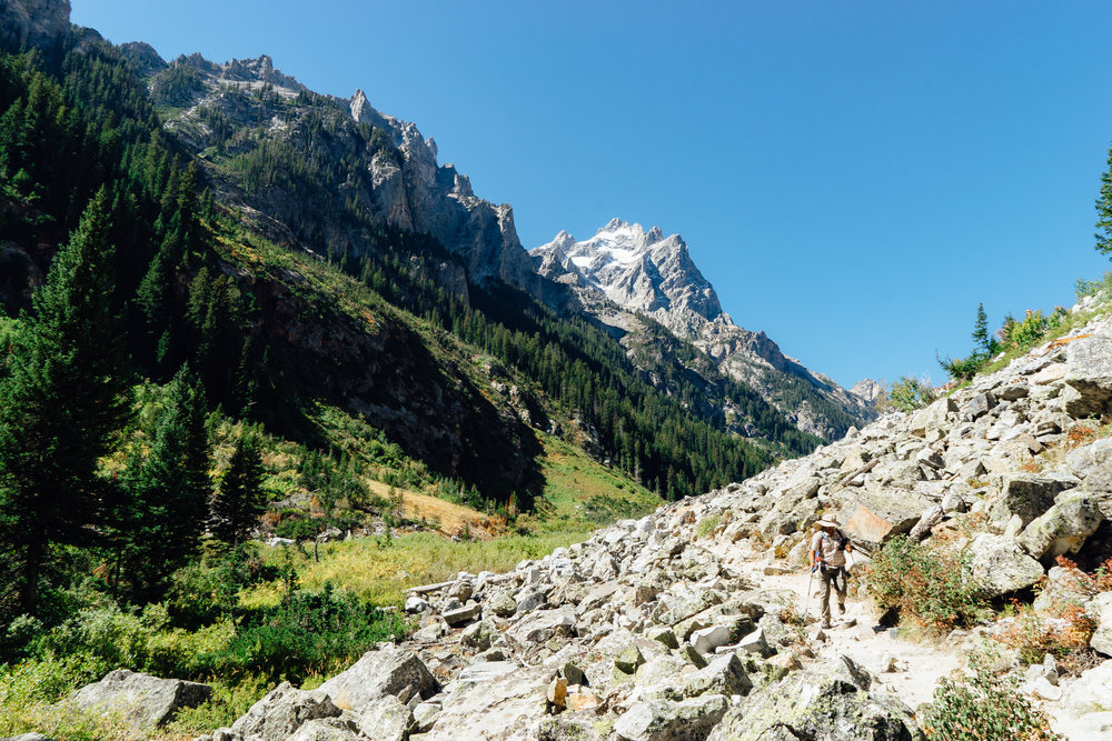 The 14-mile round trip  Cascade Trail  cuts through the Teton range alongside the Cascade River. It is one of the most popular hiking trail in the park. However, the trail gets more peaceful if you are willing to walk further than the Inspiration Point.