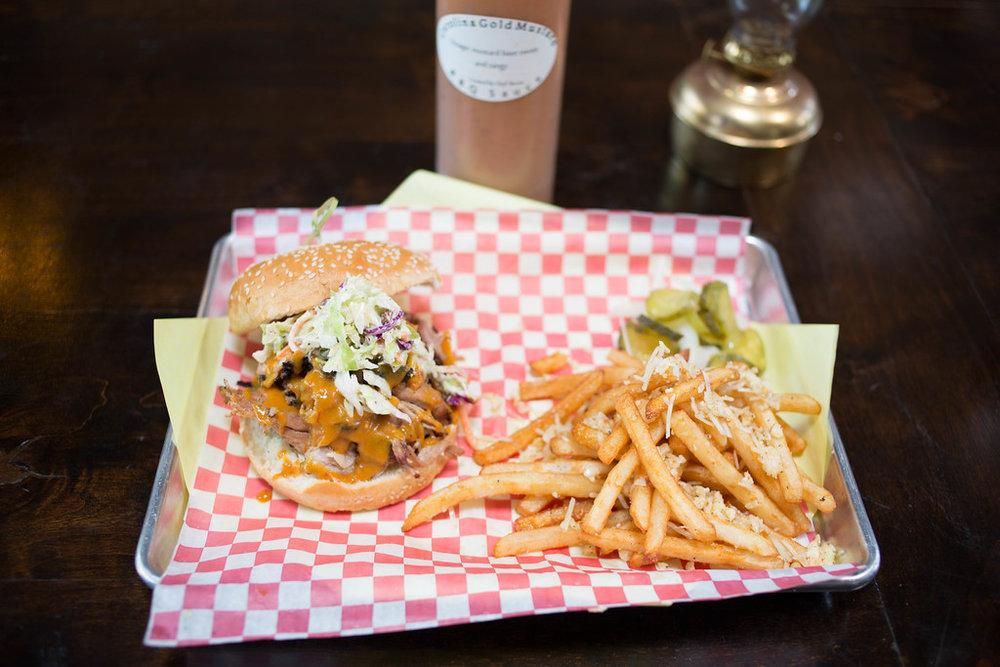 Smoke Tree BBQ Palm Springs sandwich and fries