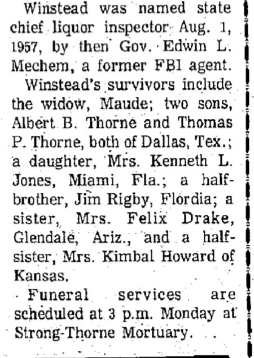 Surviving Relatives Of Charles Winstead - Obituary, 1973