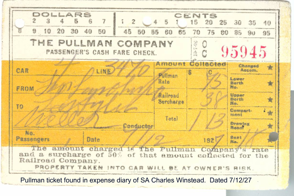 A Pullman Train receipt dated 1927 found among Winstead's records. Shows travel to Los Angeles