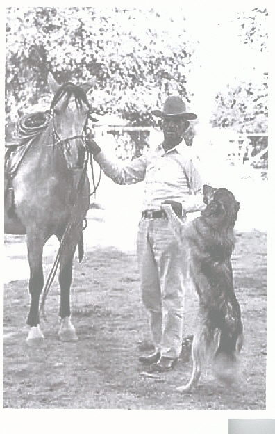 "Winstead in 1959 at home in retirement -  This photo was provided by Mr. Gene Moser whose father was a Bureau of Indian Affairs Agent, and knew Winstead well after he left the Bureau. Winstead's dog was named ""Rinky."""