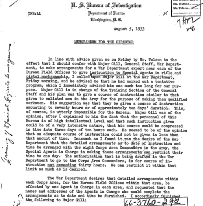 "See it elsewhere - SA ""Frank"" Baughman's initial August, 1933 contact with the War Department for firearms training assistance from the U. S. Army"