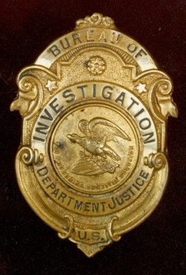 An early Bureau Of Investigation badge, pre-1927 changes by Director Hoover - Courtesy FBI