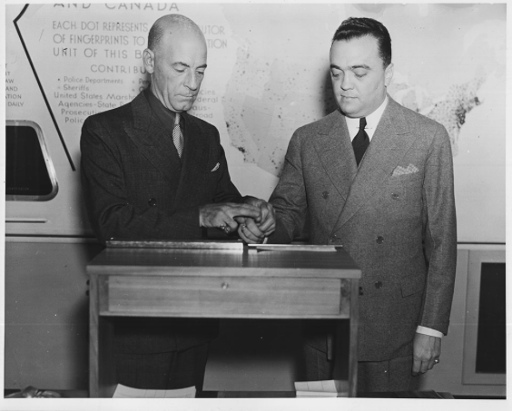 Courtney Ryley Cooper and J. Edgar Hoover, circa 1936 - Courtesy National Archives