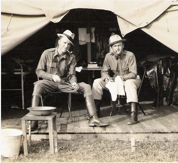 "Special Agent, ""Hank"" Sloan (left) at the long forgotten U. S. Army/FBI training camp at Ft. Washington,  still being utilized in 1935 with other camps in the WDC/Maryland area. (photo courtesy Sloan family)"