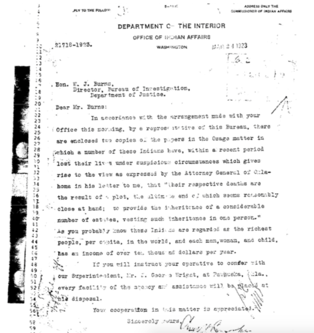 1923 Office Of Indian Affairs Request For Investigative Assistance - FBI files (FOIA)