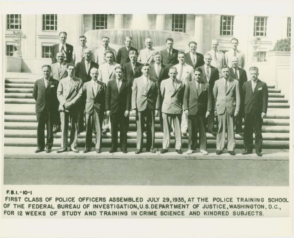 "First known as the FBI ""Police Training School"" this is the first class of graduates of what was renamed the FBI's National Academy.  There was 1 class in 1935 and 2 classes in 1936."