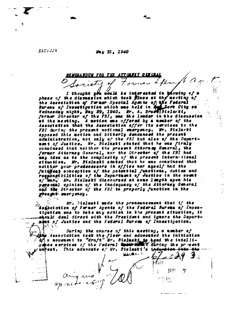 Director Hoover's letter to the Attorney General, 1940 revealing Bielaski's criticisms.