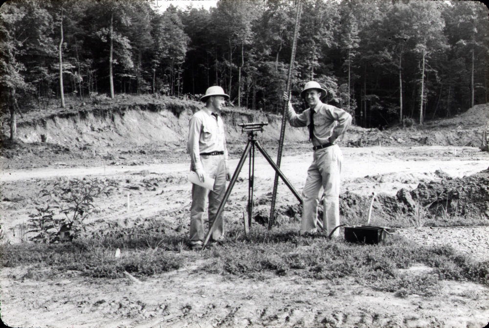 """Hank"" Sloan and SA Bill Espey during construction of the firearms ranges, early FBI Academy circa 1940. Courtesy Sloan family."