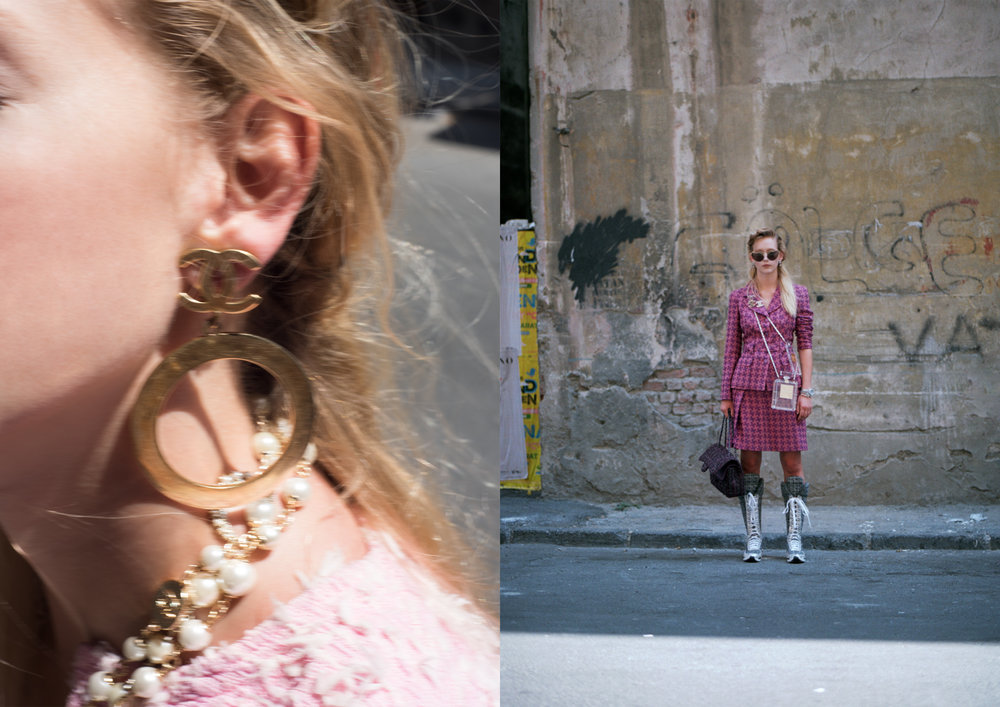 left image ALL CHANEL, right image suit CHANEL, bags CHANEL, sunglasses MIU MIU, prooch + bracelets CHANEL, shoes CHANEL
