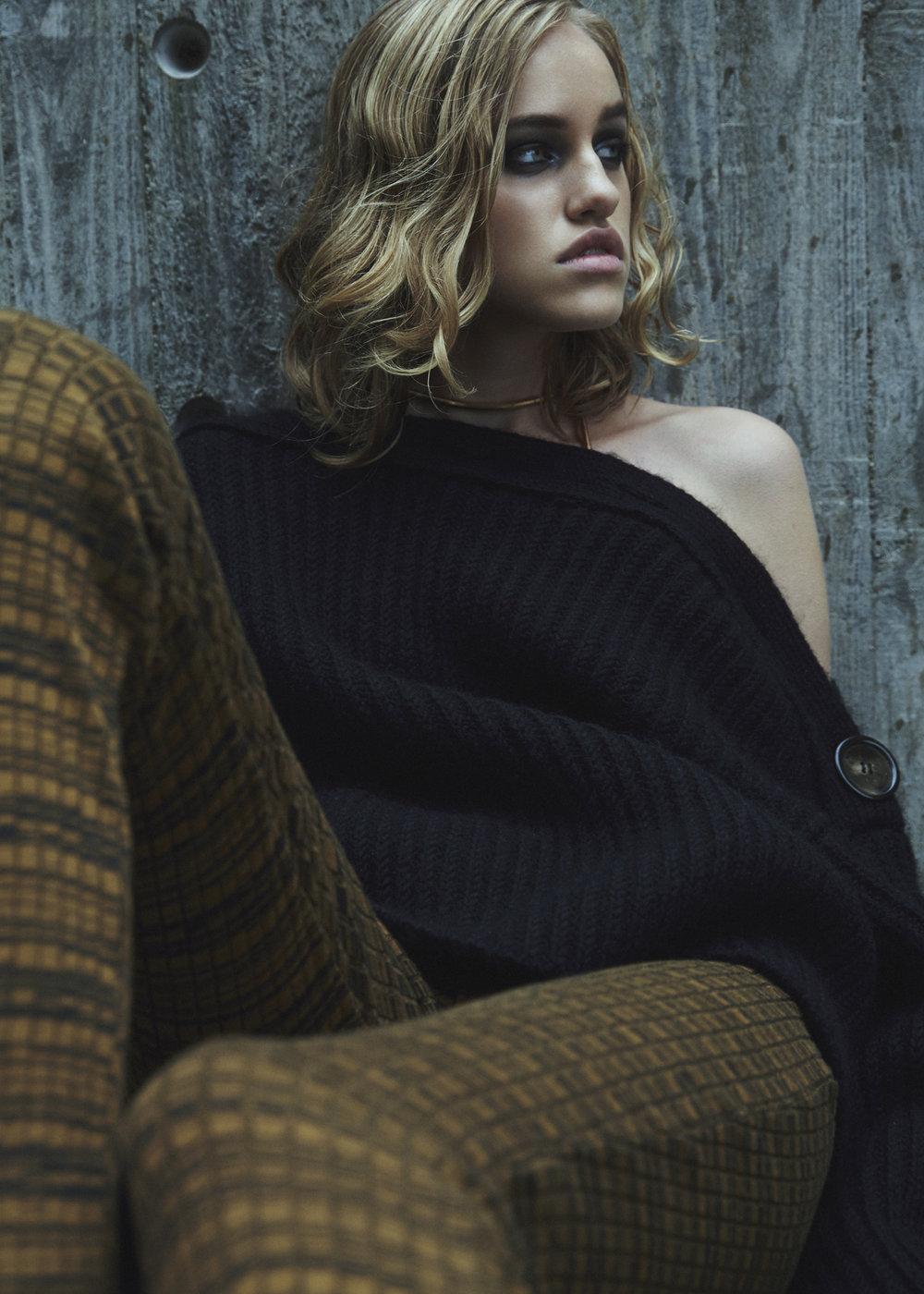 necklaces LARA BOHINC, knit sweater ACNE STUDIOS, trousers BAUM UND PFERDGARTEN