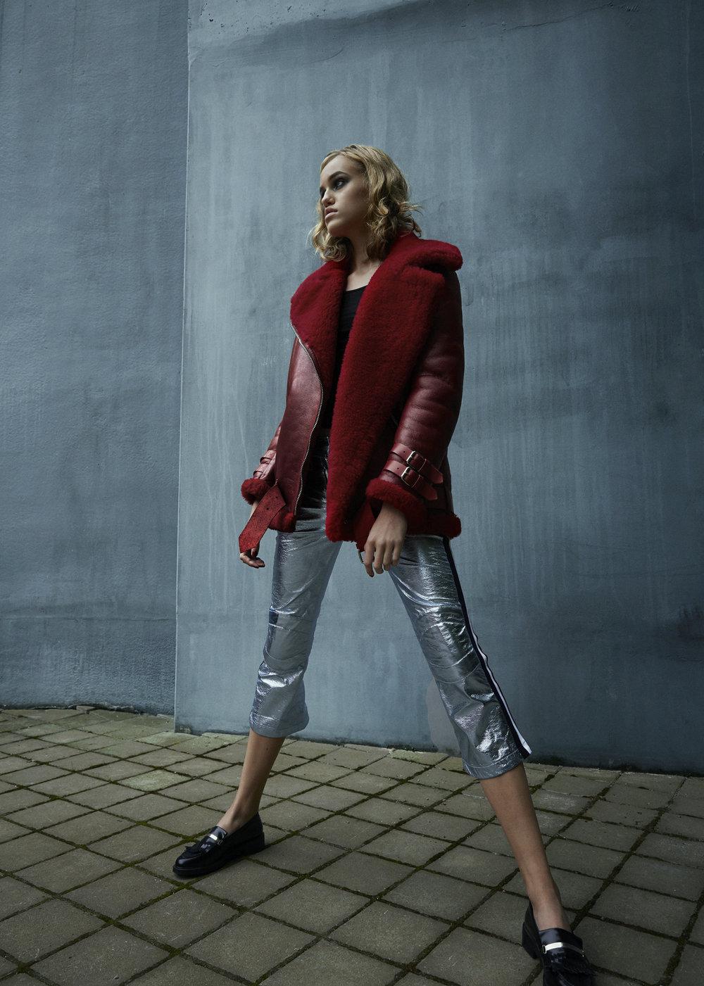 top CHLOE, jacket ACNE STUDIOS, trousers ROSSIGNOL, shoes ZALANDO