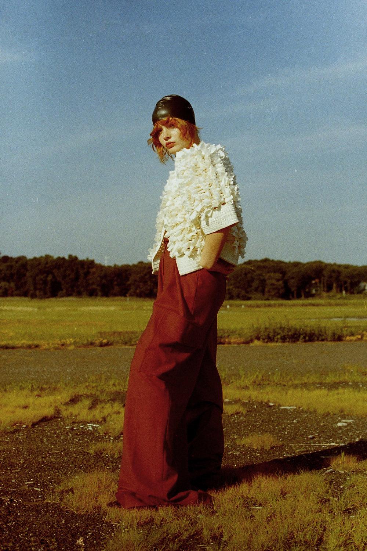 swim cap VINTAGE,cotton top  M. PATMOS maroon trousers  SCHAI  , shoes   PALOMA BARCELO   ,