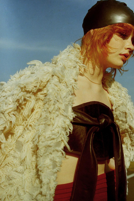 swim cap VINTAGE, jacket  SCHAI  , l eather +fur belt (worn as top)     NICHOLAS K ,  trousers   LINDY FOX   ,