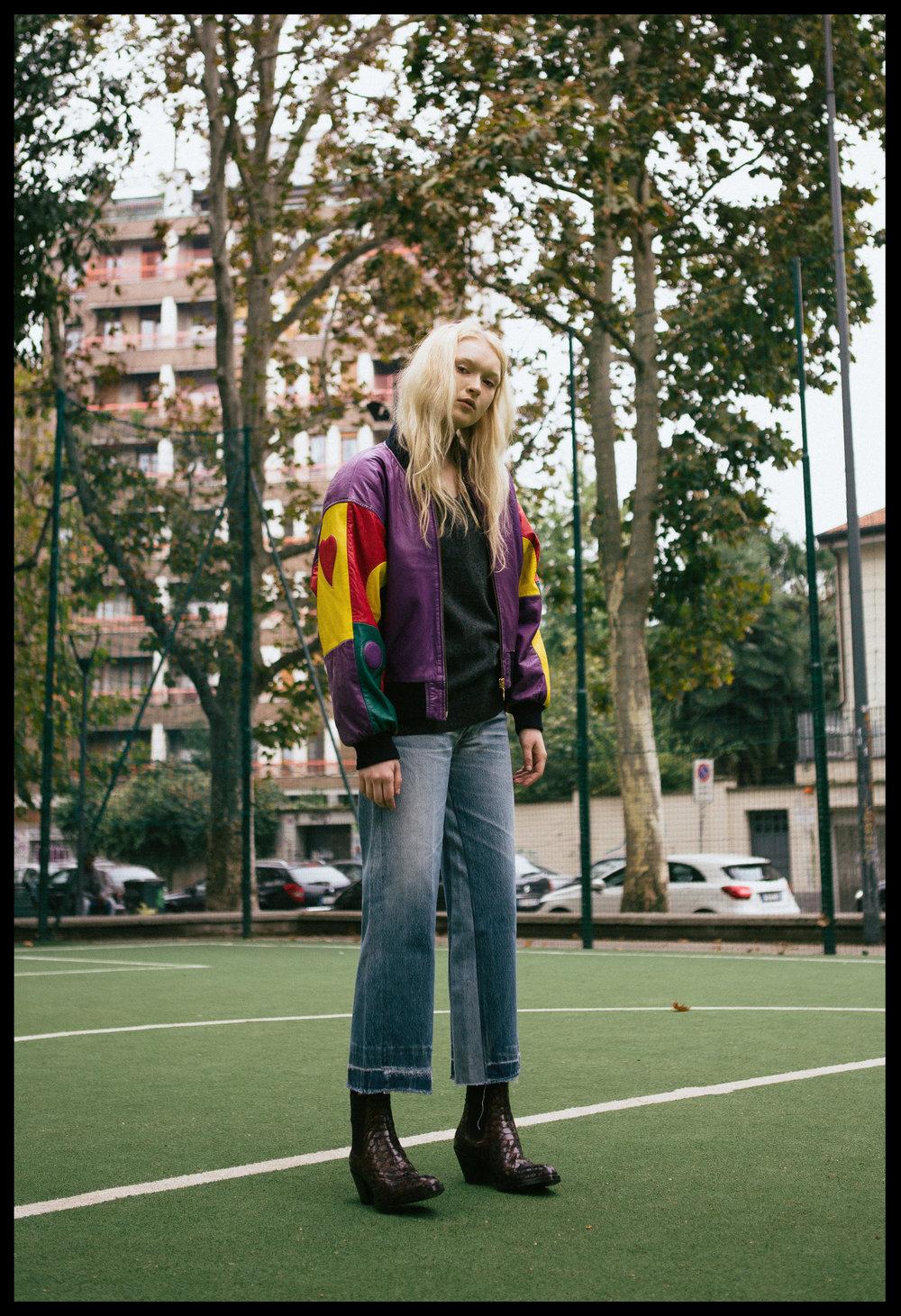 jacket VINTAGE,jumper LACOSTE,jeans RE/DONE LEVI'S, boots Elena lachi