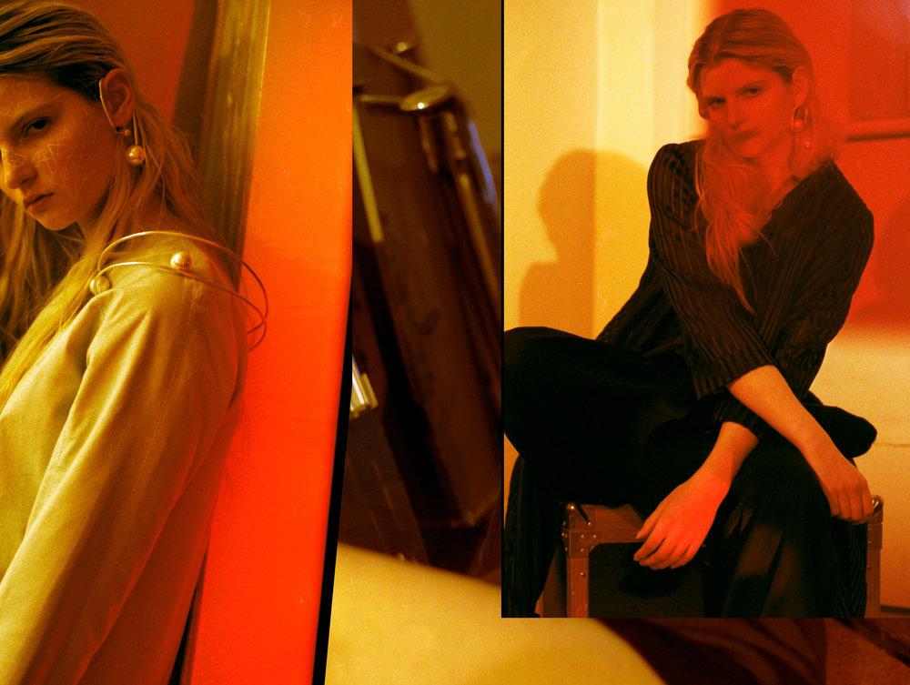 LEFT top  JH ZANE, jewellery  YIFAN GAO , RIGHT coat  PAPER LONDON  trousers  JH ZANE, jewellery  YIFAN GAO