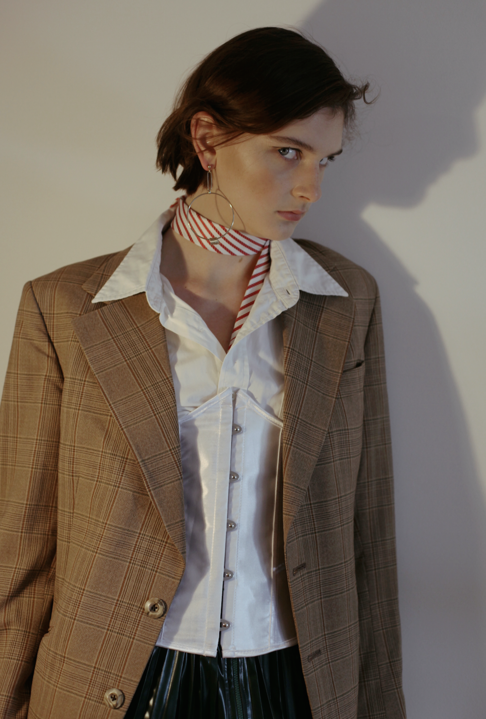 jacket VINTAGE, earring  JUSTINE CLENQUET , scarf STYLIST'S OWN, skirt  TOGA PULLA