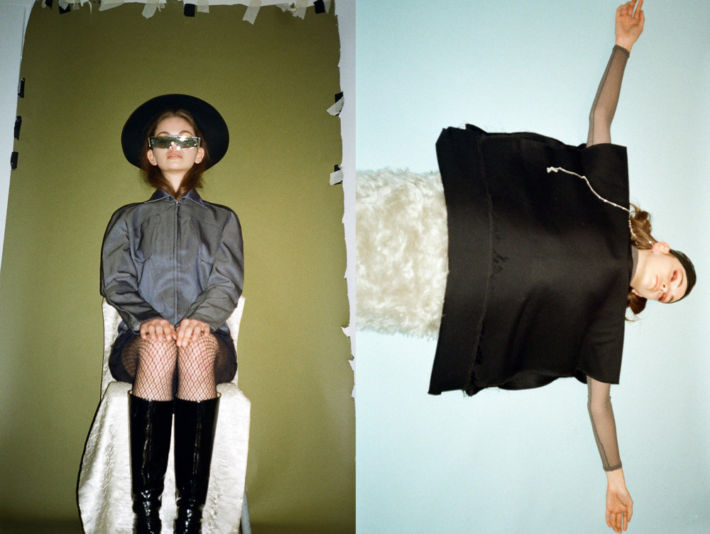 LEFT jacket  MUGLER , boots FREELANCE, sunglasses  OPENING CEREMONY , hat + stockings STYLIST'S OWN, RIGHT skirt + earring  NEITH NYER,  top  AFTERHOMEWORK , turtleneck  VINTAGE , swimming cap STYLIST'S OWN