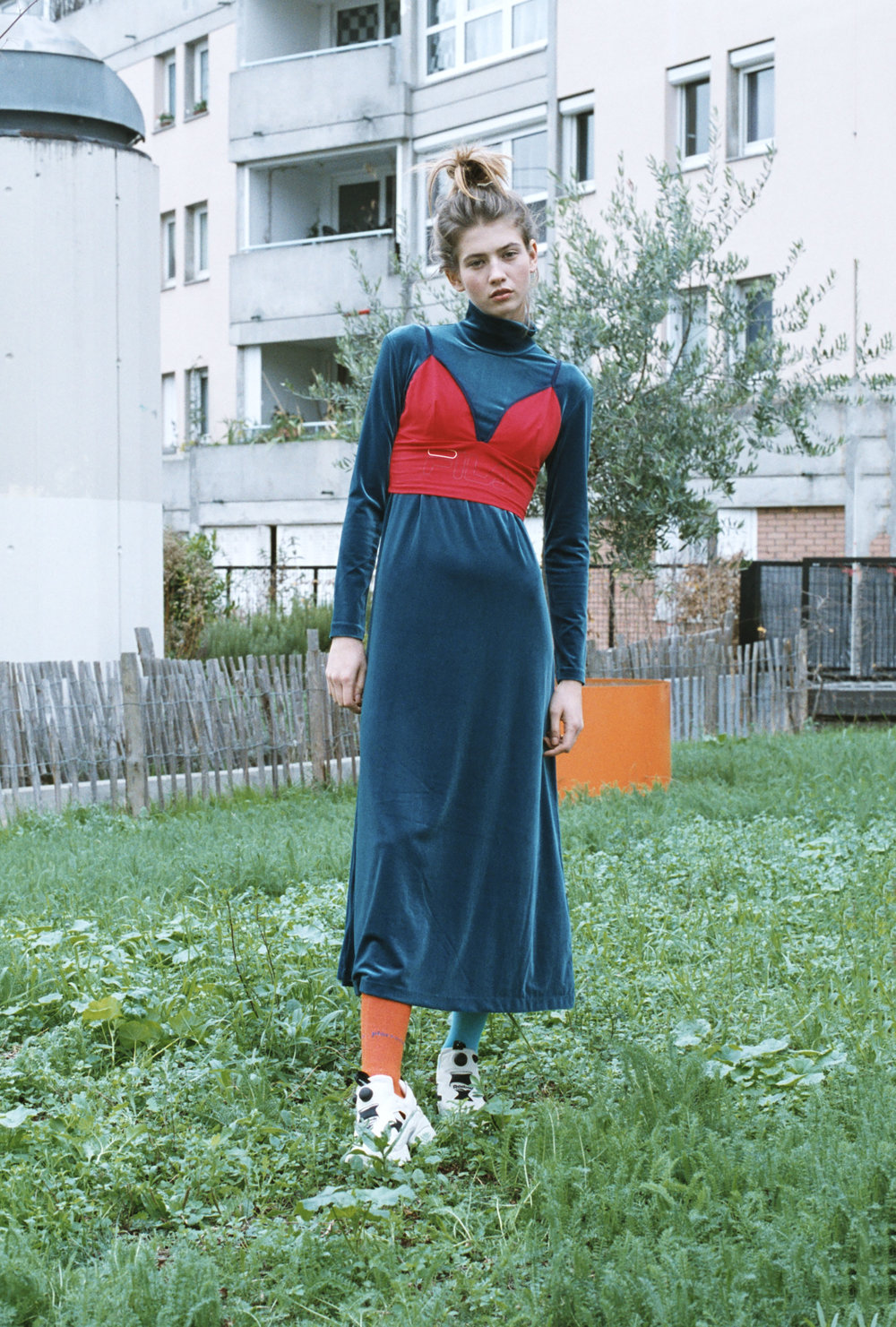 dress & OTHER STORIES, top FILA, socks PIERE CARDIN, shoes MARNI X ZALANDO