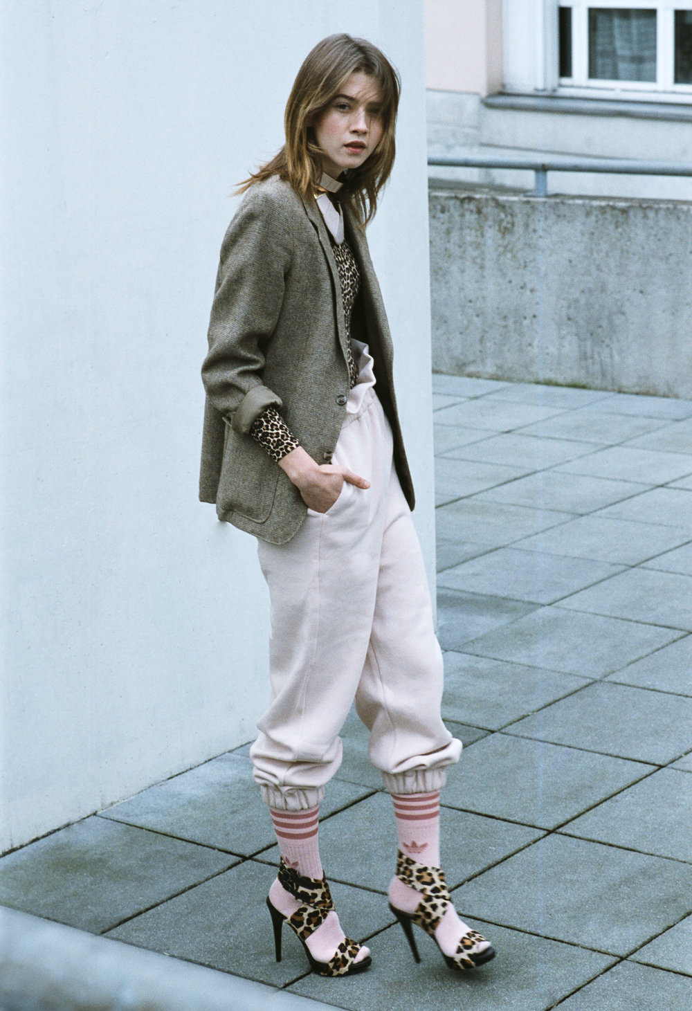 trousers MARINA HOERMANSEDER, body AMERICAN APPAREL, jacket VINTAGE, socks ADIDAS,  necklaces  ASOS + H&M, shoes  ZARA