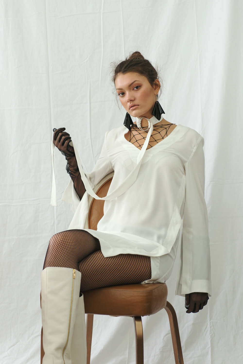boots  CALVIN KLEIN , dress + gloves VINTAGE, earrings STYLIST'S ARCHIVE