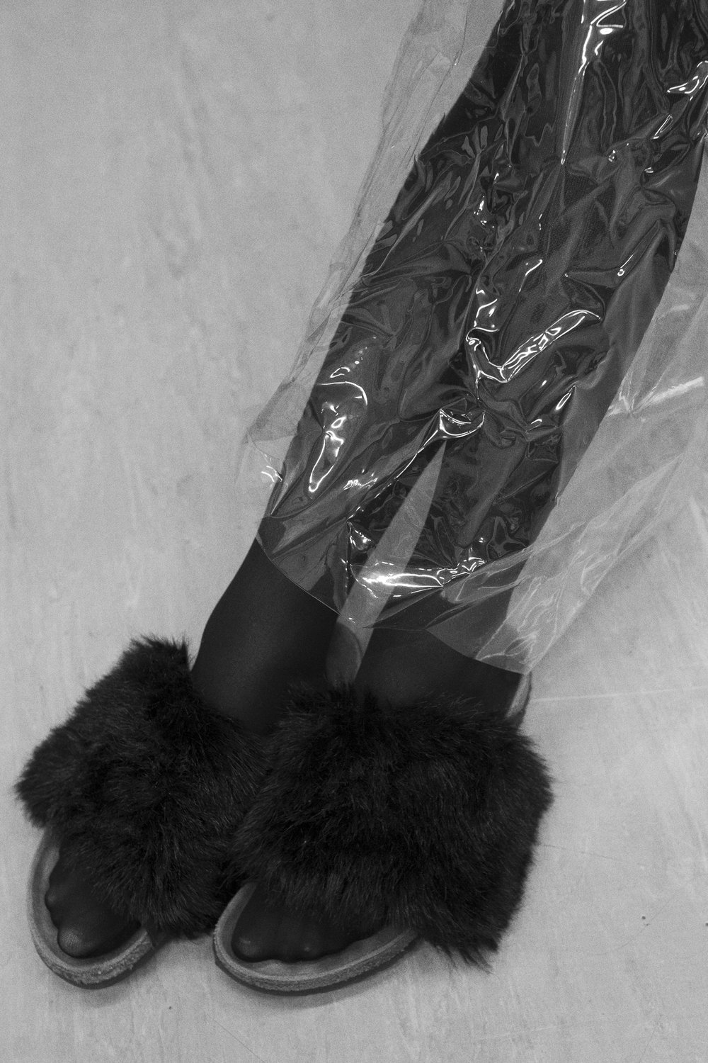 PVC + fluffy shoes STYLIST'S OWN