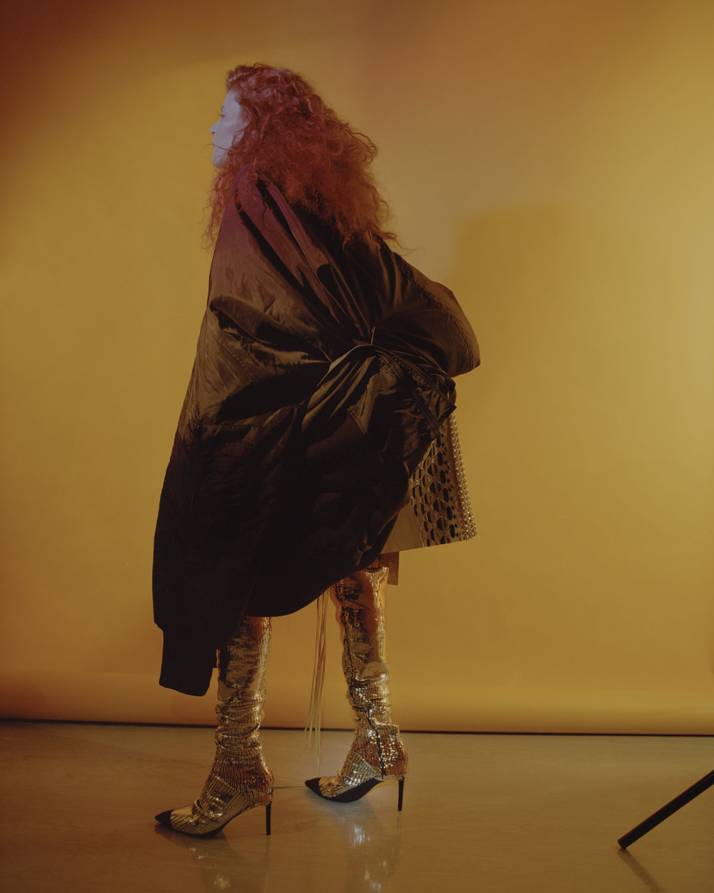 coat  SAM THOMPSON,  skirt + boots  MAX LUO ,