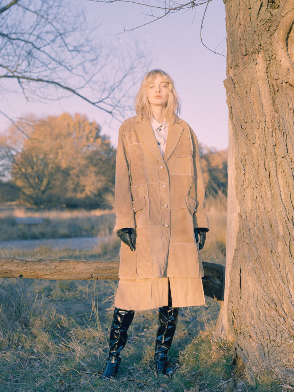 coat + skirt STEVEN TAI, shirt BROR AUGUST, boots DAISY STREET, gloves ASOS