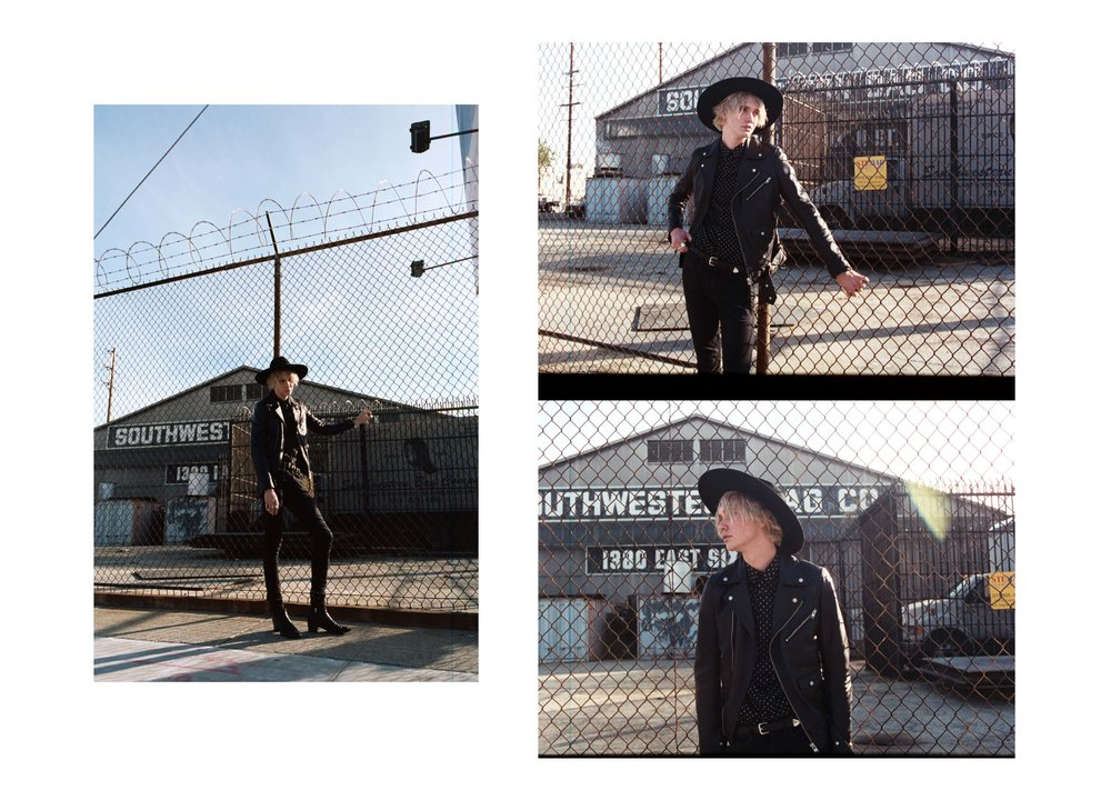 jacket + shirt + belt  J.LINDEBERG , denim  BLK DNM , hat + boots  SAINT LAURENT ,
