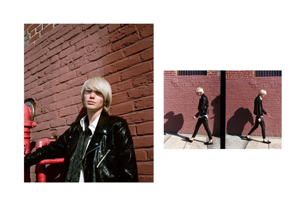 jacket  ASHISH , trousers BLK DNM , shirt + scarf   THE KOOPLES , shoes  SAINT LAURENT ,