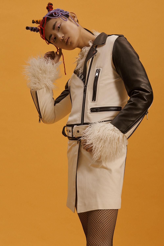 long leather jacket OUTKASTPEOPLE furry top NATALIE KOLYOZYAN