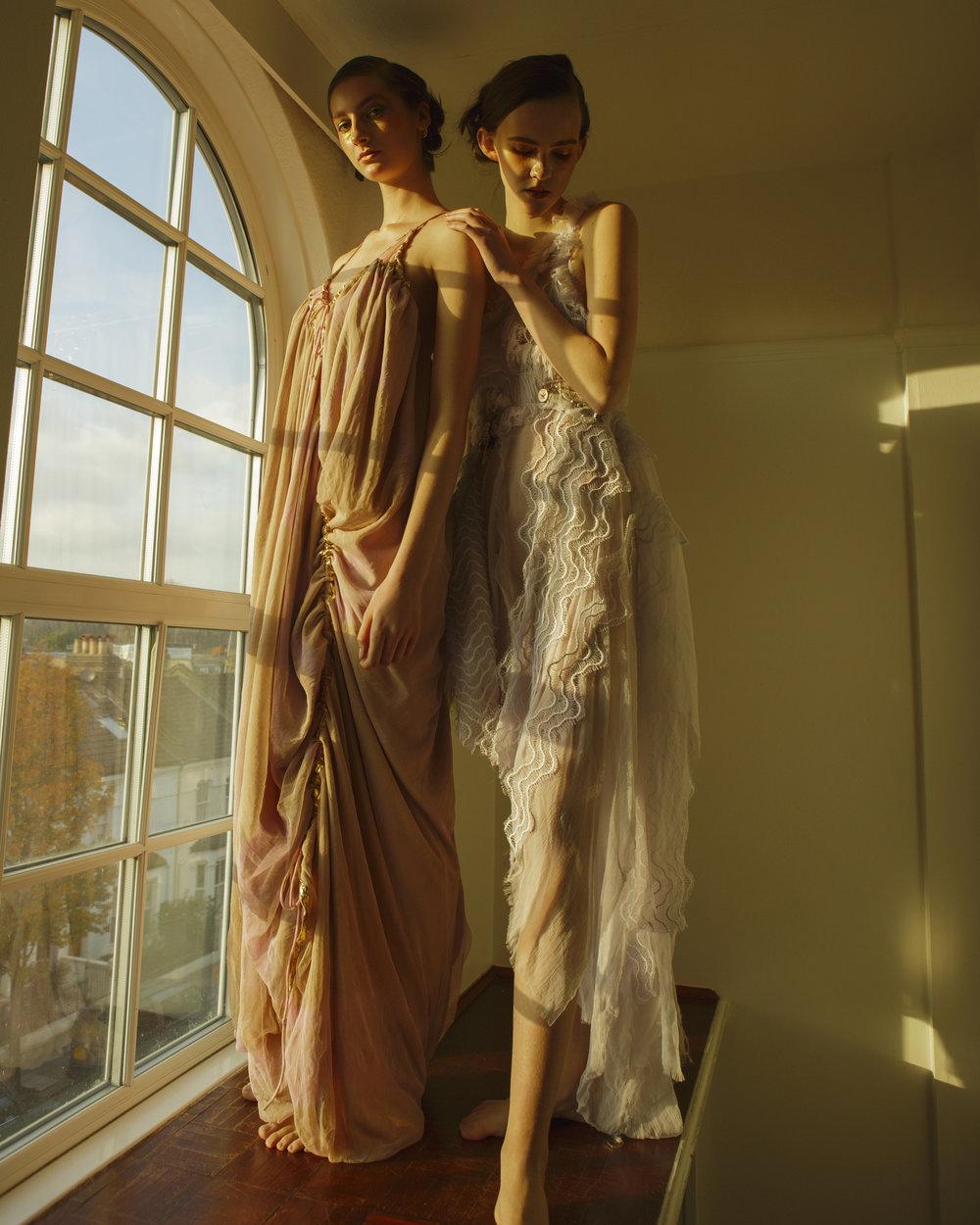 left dress  ELENA KOUTSIA,  right dress  DMITRY GOTSFRID