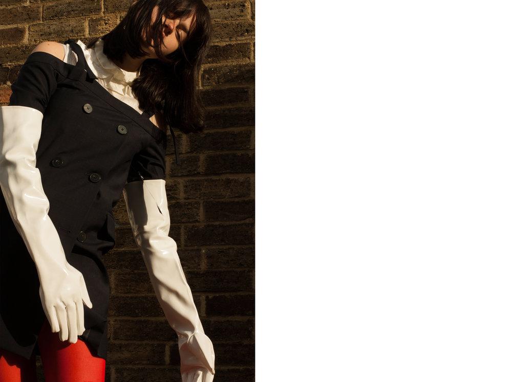 blouse  LUCKY CHOUETTE , dress VINTAGE COMME DES GARCONS, stockings  POP BOUTIQUE , gloves + shoes STYLIST'S OWN