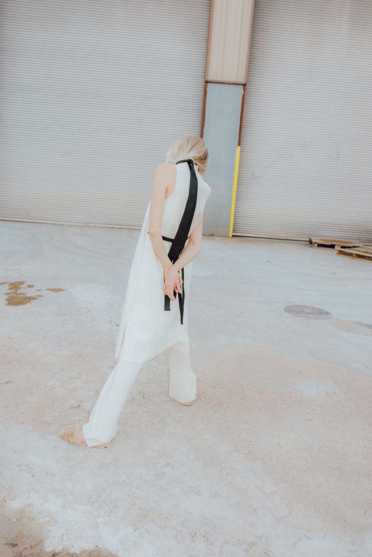 dress + pants + belt  BEING APPAREL , shoes L'Oeil