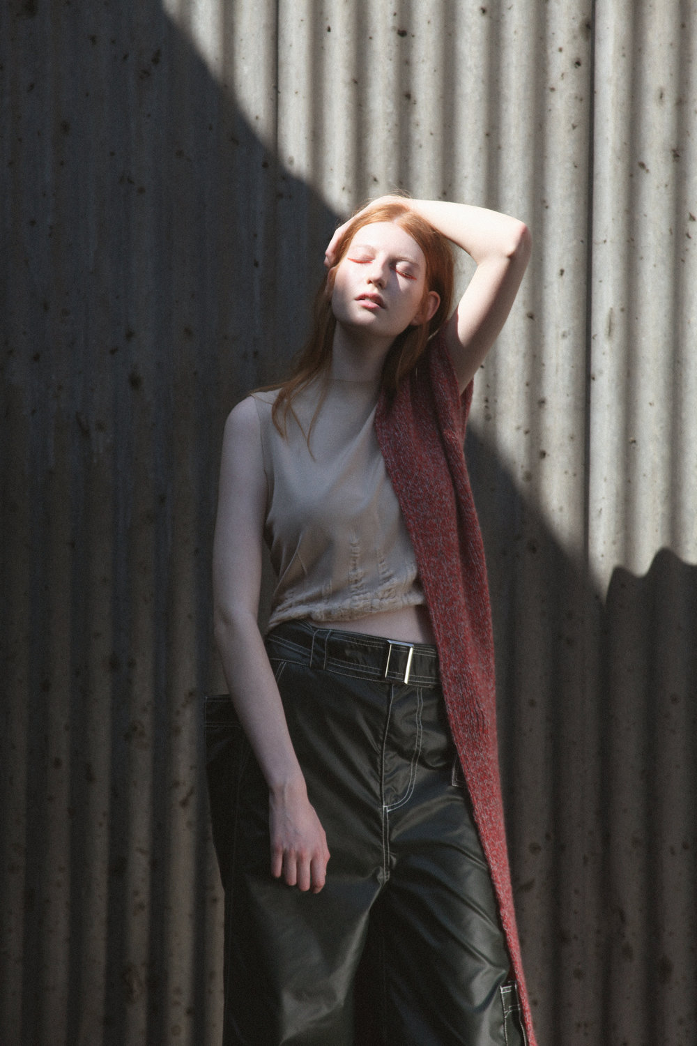 top TARA LEE, trousers BETH HALL, scarf GENEVIEVE SWEENEY