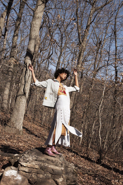 denim jacket + mesh skirt RACHEL ANTONOFF, skirt PRABAL GURUNG, boots ZADIG & VOLTAIRE, earring GINETTE NY