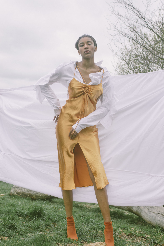 slip dress TOPSHOP, blouse DAISY STREET, boots ZARA